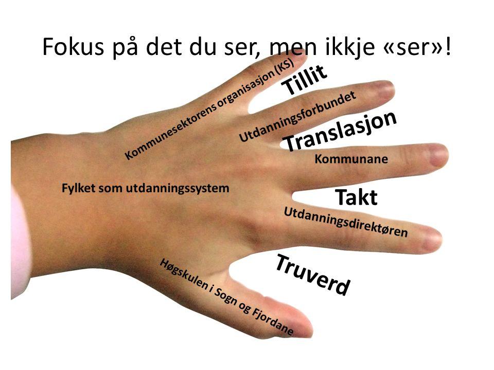 Tillit Translasjon Takt Truverd Høgskulen i Sogn og Fjordane Kommunesektorens organisasjon (KS) Fokus på det du ser, men ikkje «ser»!