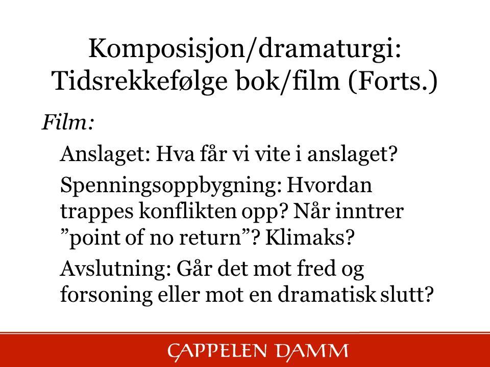 Komposisjon/dramaturgi: Tidsrekkefølge bok/film (Forts.) Film: Anslaget: Hva får vi vite i anslaget.