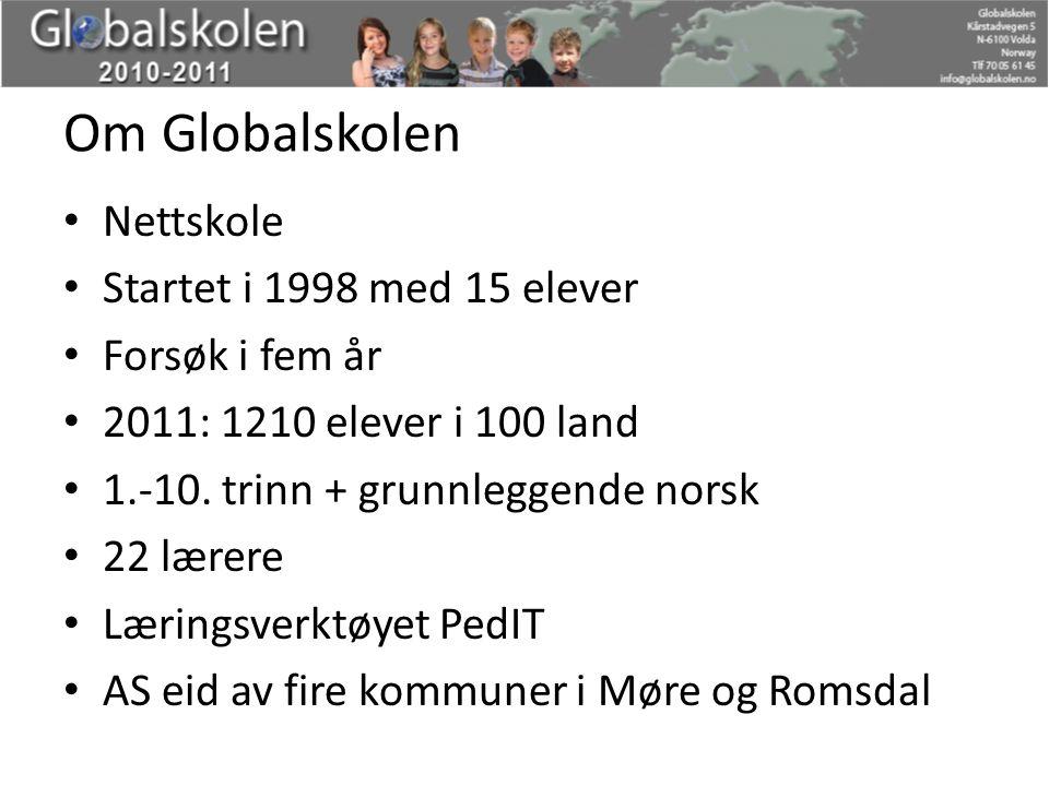 Om Globalskolen Nettskole Startet i 1998 med 15 elever Forsøk i fem år 2011: 1210 elever i 100 land 1.-10. trinn + grunnleggende norsk 22 lærere Lærin