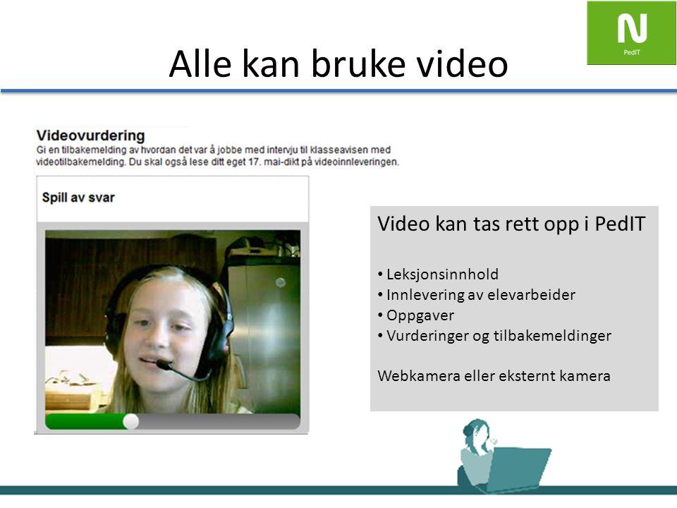 Alle kan bruke video Video kan tas rett opp i PedIT Leksjonsinnhold Innlevering av elevarbeider Oppgaver Vurderinger og tilbakemeldinger Webkamera eller eksternt kamera