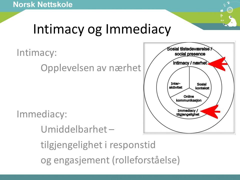 Intimacy og Immediacy Intimacy: Opplevelsen av nærhet Immediacy: Umiddelbarhet – tilgjengelighet i responstid og engasjement (rolleforståelse)