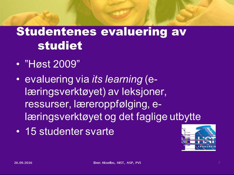 26.09.2016Iben Akselbo, HiST, ASP, PVI7 Studentenes evaluering av studiet Høst 2009 evaluering via its learning (e- læringsverktøyet) av leksjoner, ressurser, læreroppfølging, e- læringsverktøyet og det faglige utbytte 15 studenter svarte