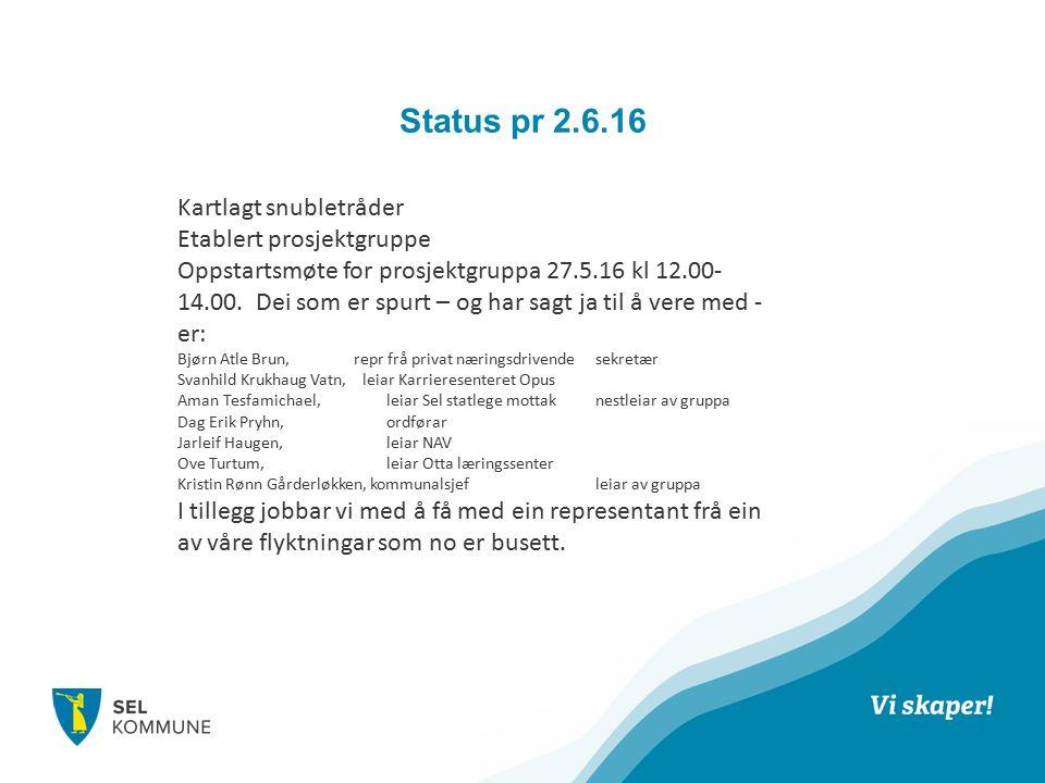 Status pr 2.6.16 Kartlagt snubletråder Etablert prosjektgruppe Oppstartsmøte for prosjektgruppa 27.5.16 kl 12.00- 14.00.