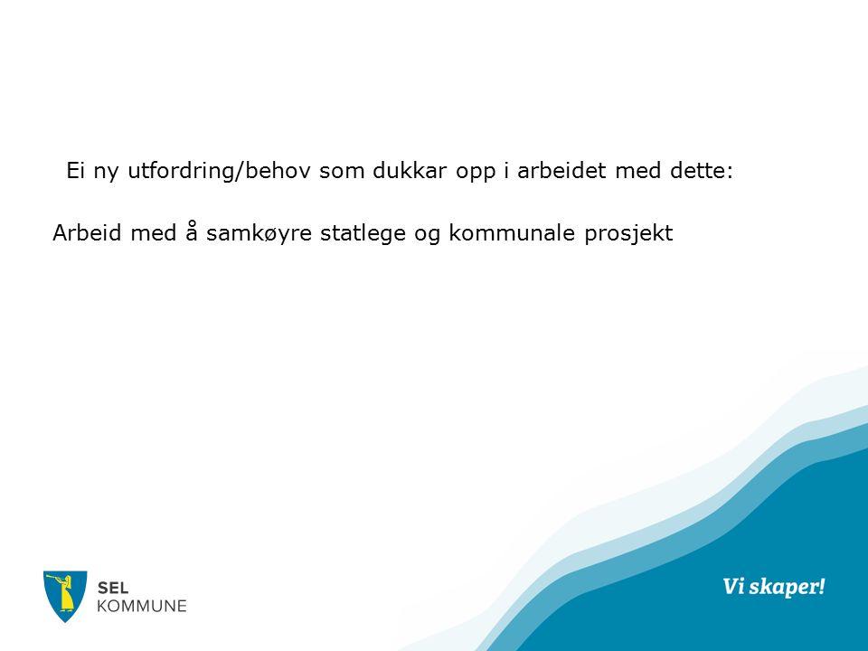 EEi ny utfordring/behov som dukkar opp i arbeidet med dette: Arbeid med å samkøyre statlege og kommunale prosjekt