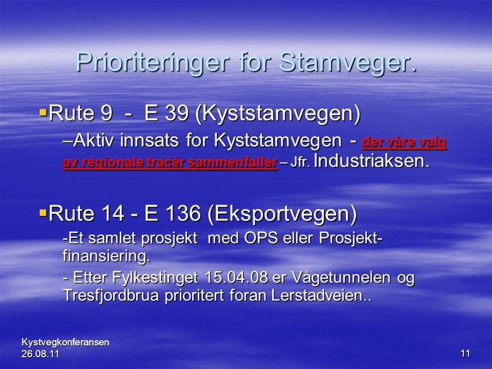 Kystvegkonferansen 26.08.1111 Prioriteringer for Stamveger.  Rute 9 - E 39 (Kyststamvegen) –Aktiv innsats for Kyststamvegen - der våre valg av region