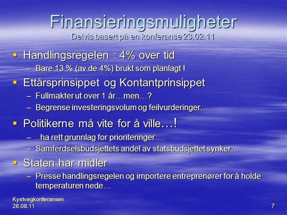 Finansieringsmuligheter Delvis basert på en konferanse 23.02.11  Handlingsregelen : 4% over tid –Bare 13 % (av de 4%) brukt som planlagt !  Ettårspr