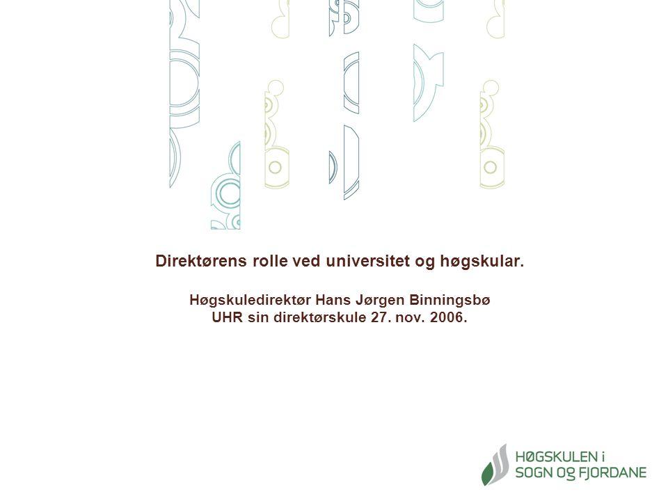 Direktørens rolle ved universitet og høgskular.