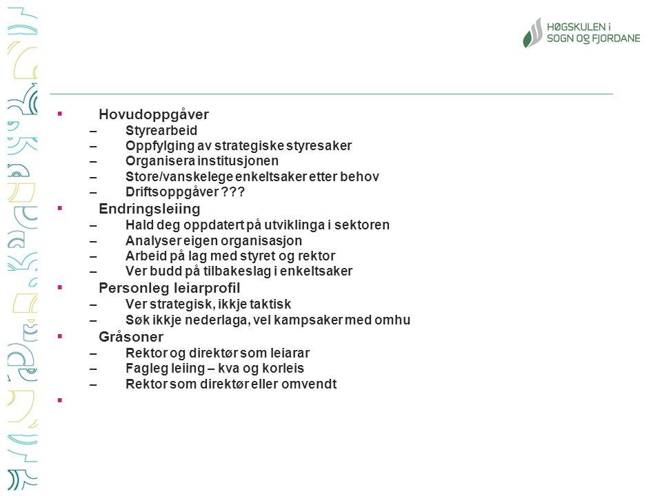  Hovudoppgåver –Styrearbeid –Oppfylging av strategiske styresaker –Organisera institusjonen –Store/vanskelege enkeltsaker etter behov –Driftsoppgåver