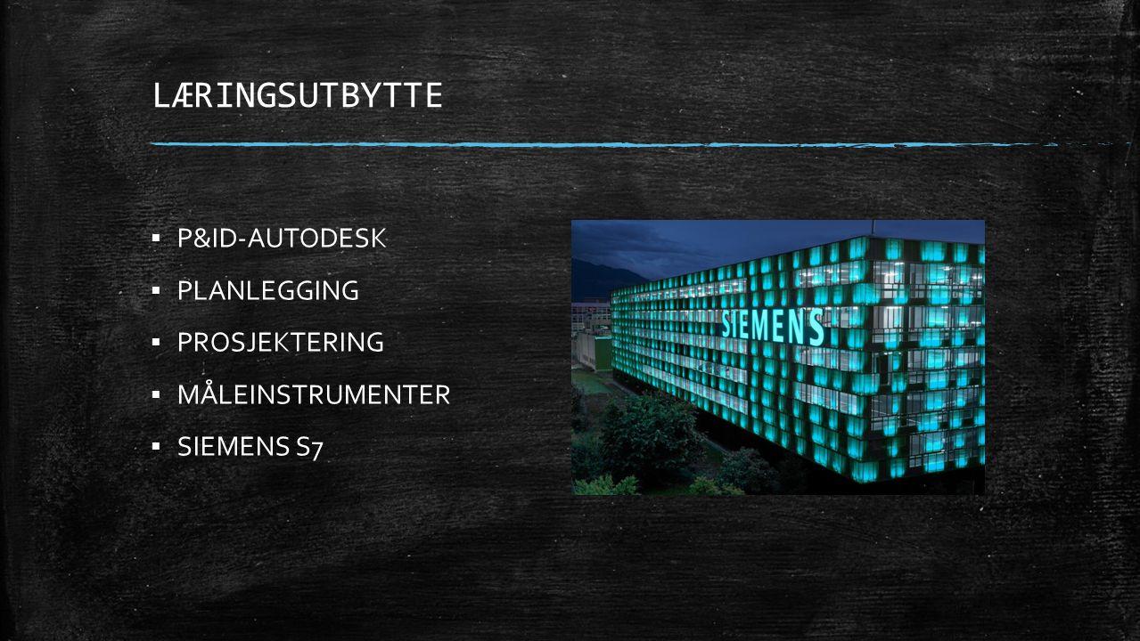 LÆRINGSUTBYTTE  P&ID-AUTODESK  PLANLEGGING  PROSJEKTERING  MÅLEINSTRUMENTER  SIEMENS S7