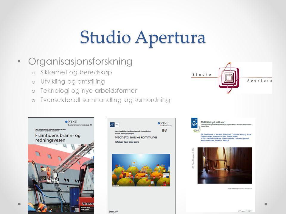 Studio Apertura Organisasjonsforskning o Sikkerhet og beredskap o Utvikling og omstilling o Teknologi og nye arbeidsformer o Tverrsektoriell samhandling og samordning