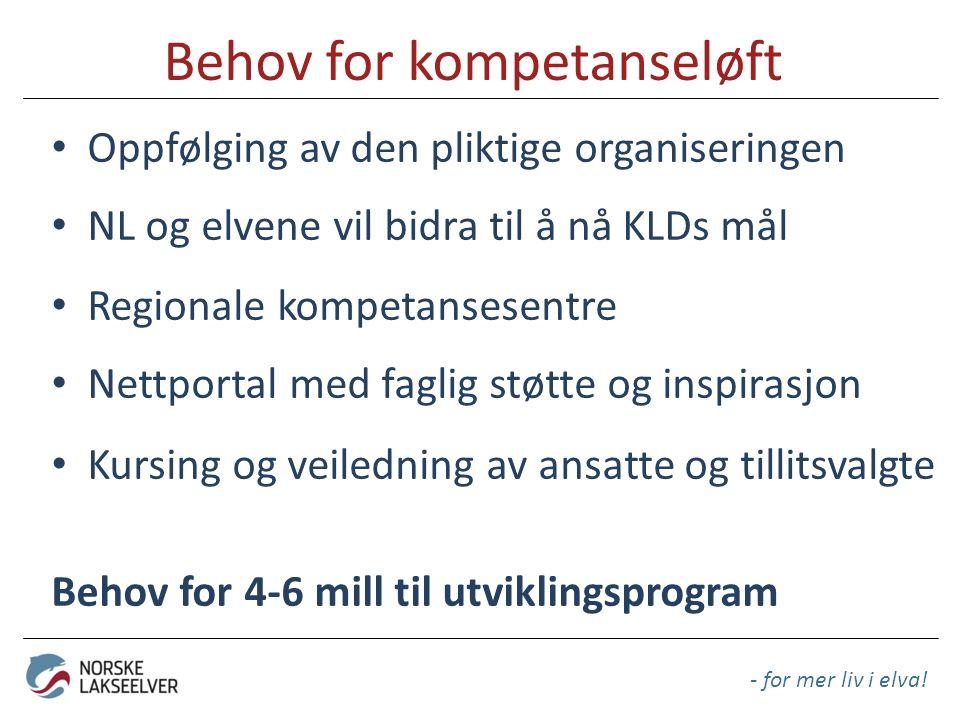 Behov for kompetanseløft Oppfølging av den pliktige organiseringen NL og elvene vil bidra til å nå KLDs mål Regionale kompetansesentre Nettportal med
