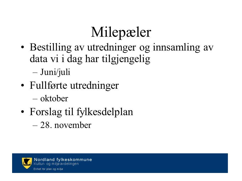 Milepæler Bestilling av utredninger og innsamling av data vi i dag har tilgjengelig –Juni/juli Fullførte utredninger –oktober Forslag til fylkesdelplan –28.