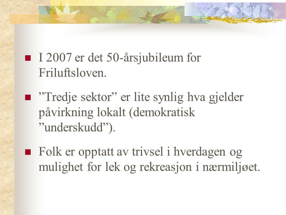 I 2007 er det 50-årsjubileum for Friluftsloven.