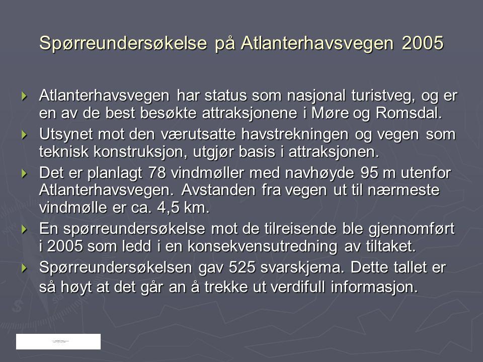 Spørreundersøkelse på Atlanterhavsvegen 2005  Atlanterhavsvegen har status som nasjonal turistveg, og er en av de best besøkte attraksjonene i Møre o