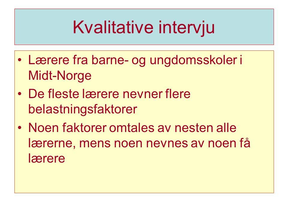 Kvalitative intervju Lærere fra barne- og ungdomsskoler i Midt-Norge De fleste lærere nevner flere belastningsfaktorer Noen faktorer omtales av nesten alle lærerne, mens noen nevnes av noen få lærere