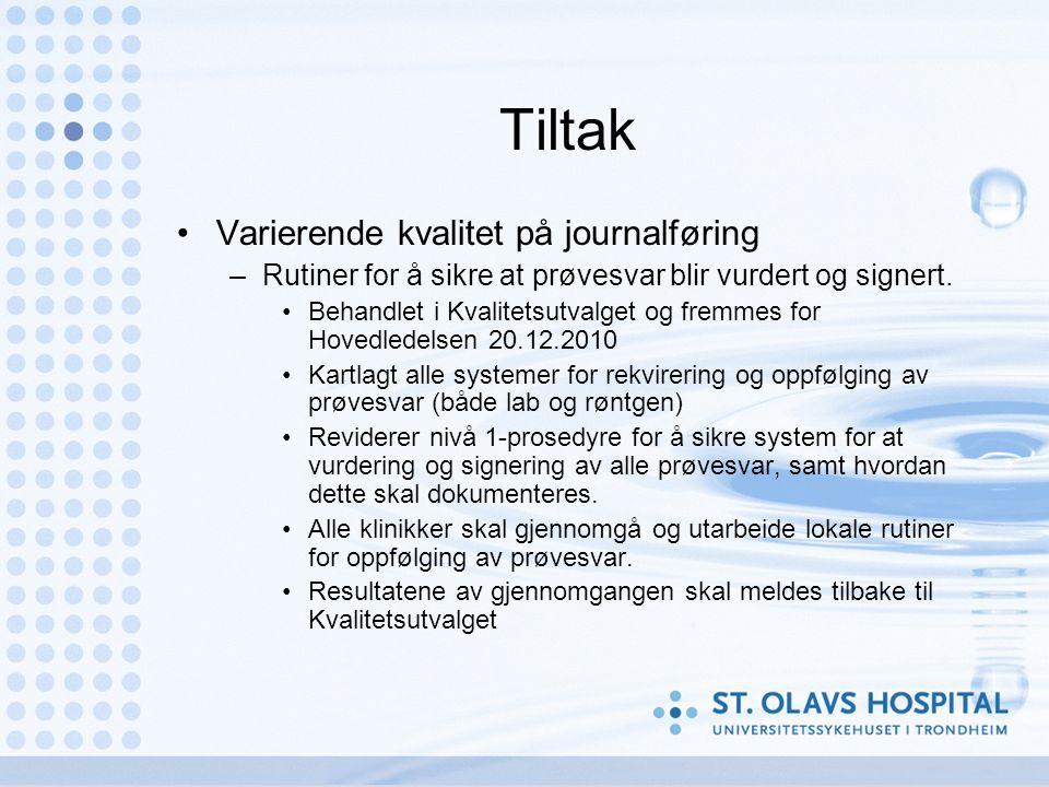 Tiltak Varierende kvalitet på journalføring –Rutiner for å sikre at prøvesvar blir vurdert og signert.
