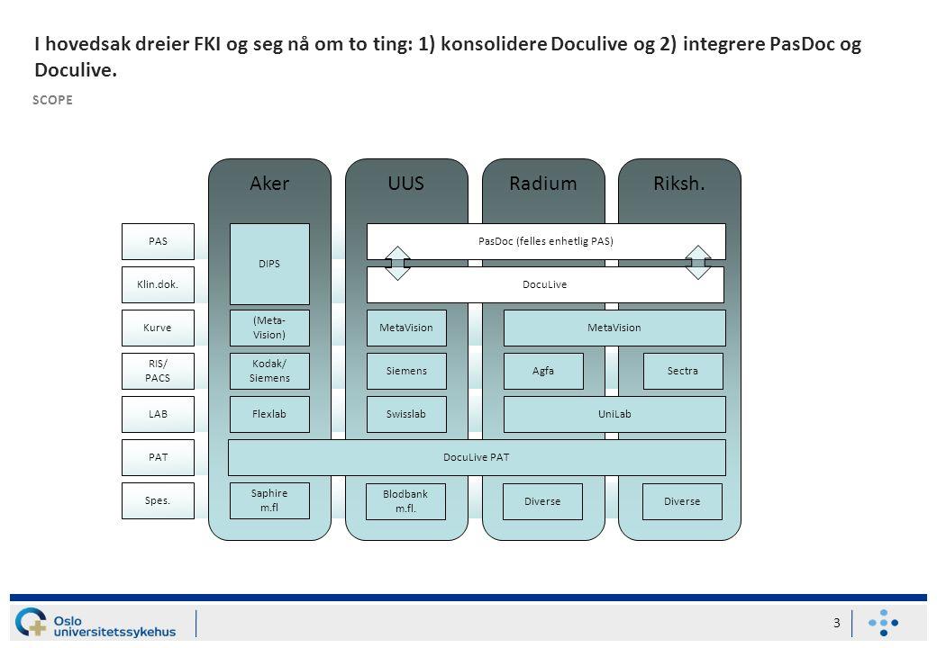I hovedsak dreier FKI og seg nå om to ting: 1) konsolidere Doculive og 2) integrere PasDoc og Doculive.