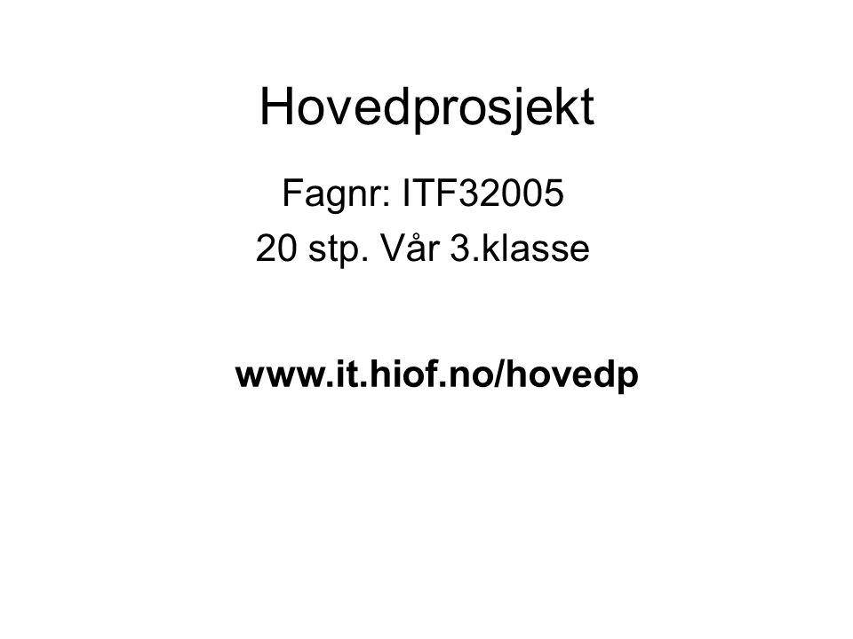 Hovedprosjekt Fagnr: ITF32005 20 stp. Vår 3.klasse www.it.hiof.no/hovedp