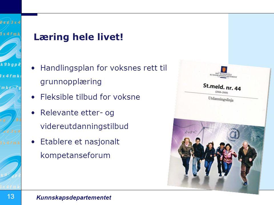 13 Kunnskapsdepartementet Læring hele livet! Handlingsplan for voksnes rett til grunnopplæring Fleksible tilbud for voksne Relevante etter- og videreu