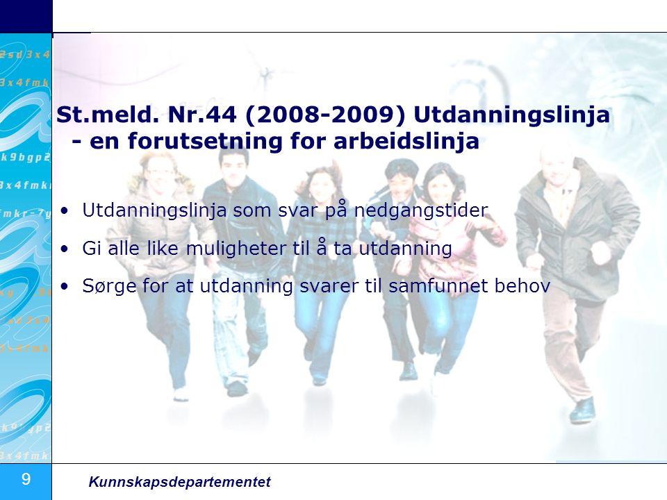 9 Kunnskapsdepartementet St.meld. Nr.44 (2008-2009) Utdanningslinja - en forutsetning for arbeidslinja Utdanningslinja som svar på nedgangstider Gi al