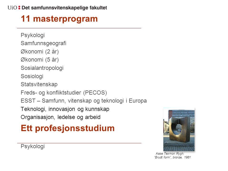 11 masterprogram Psykologi Samfunnsgeografi Økonomi (2 år) Økonomi (5 år) Sosialantropologi Sosiologi Statsvitenskap Freds- og konfliktstudier (PECOS)
