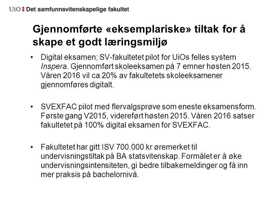 Gjennomførte «eksemplariske» tiltak for å skape et godt læringsmiljø Digital eksamen; SV-fakultetet pilot for UiOs felles system Inspera.