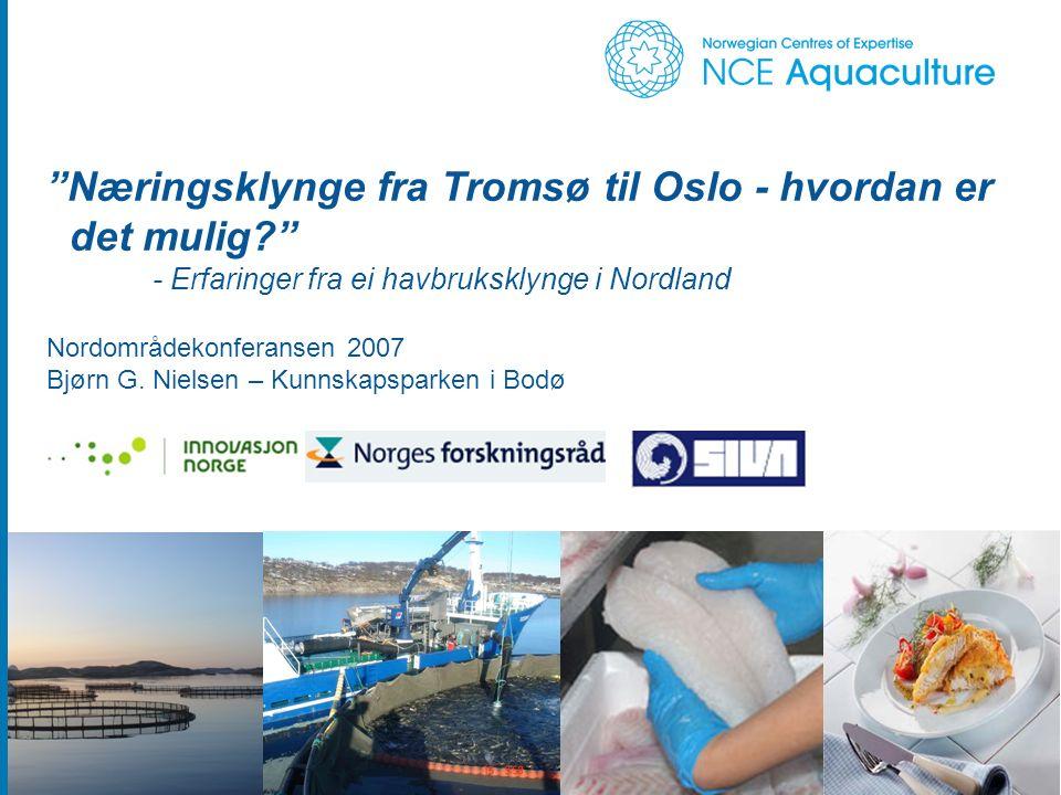 Næringsklynge fra Tromsø til Oslo - hvordan er det mulig? - Erfaringer fra ei havbruksklynge i Nordland Nordområdekonferansen 2007 Bjørn G.