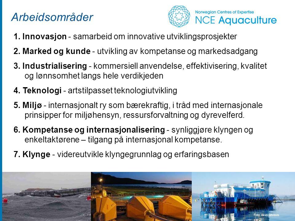 Arbeidsområder Foto: Akva serveses 1. Innovasjon - samarbeid om innovative utviklingsprosjekter 2.