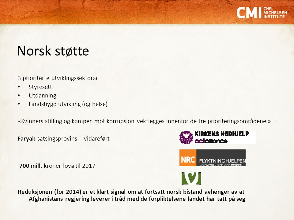 Norsk støtte 3 prioriterte utviklingssektorar Styresett Utdanning Landsbygd utvikling (og helse) «Kvinners stilling og kampen mot korrupsjon vektlegges innenfor de tre prioriteringsområdene.» Faryab satsingsprovins – vidareført 700 mill.