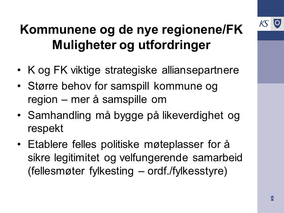 KS Kommunene og de nye regionene/FK Muligheter og utfordringer K og FK viktige strategiske alliansepartnere Større behov for samspill kommune og regio