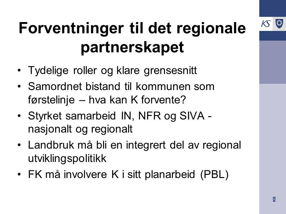 KS Forventninger til det regionale partnerskapet Tydelige roller og klare grensesnitt Samordnet bistand til kommunen som førstelinje – hva kan K forve