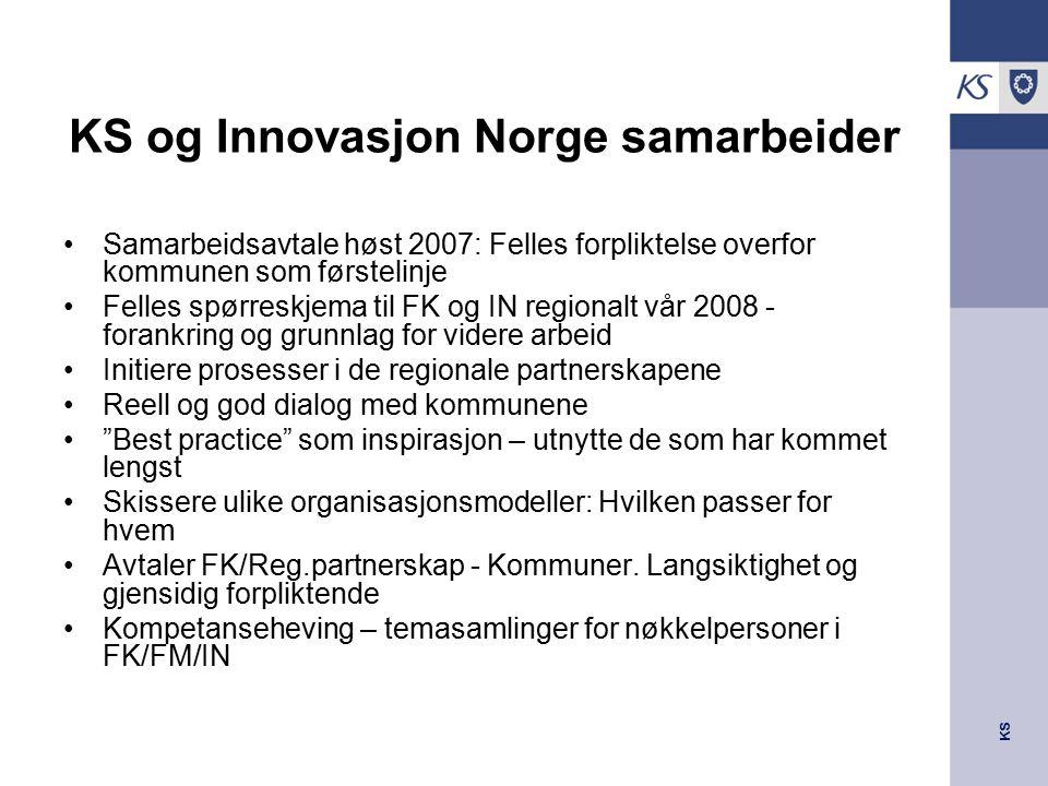 KS KS og Innovasjon Norge samarbeider Samarbeidsavtale høst 2007: Felles forpliktelse overfor kommunen som førstelinje Felles spørreskjema til FK og I