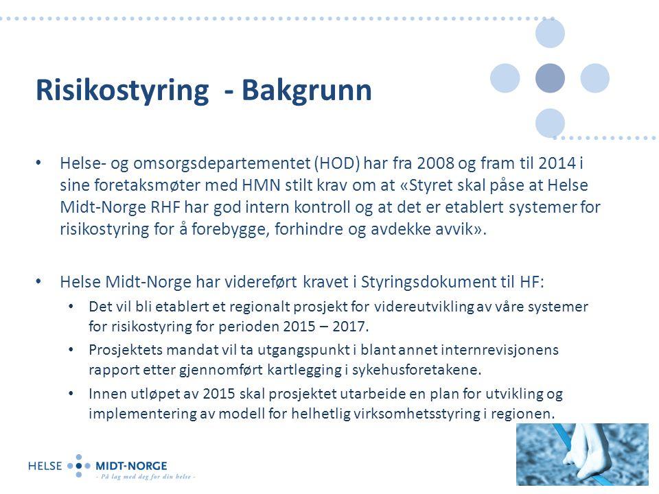 Risikostyring - Bakgrunn Helse- og omsorgsdepartementet (HOD) har fra 2008 og fram til 2014 i sine foretaksmøter med HMN stilt krav om at «Styret skal