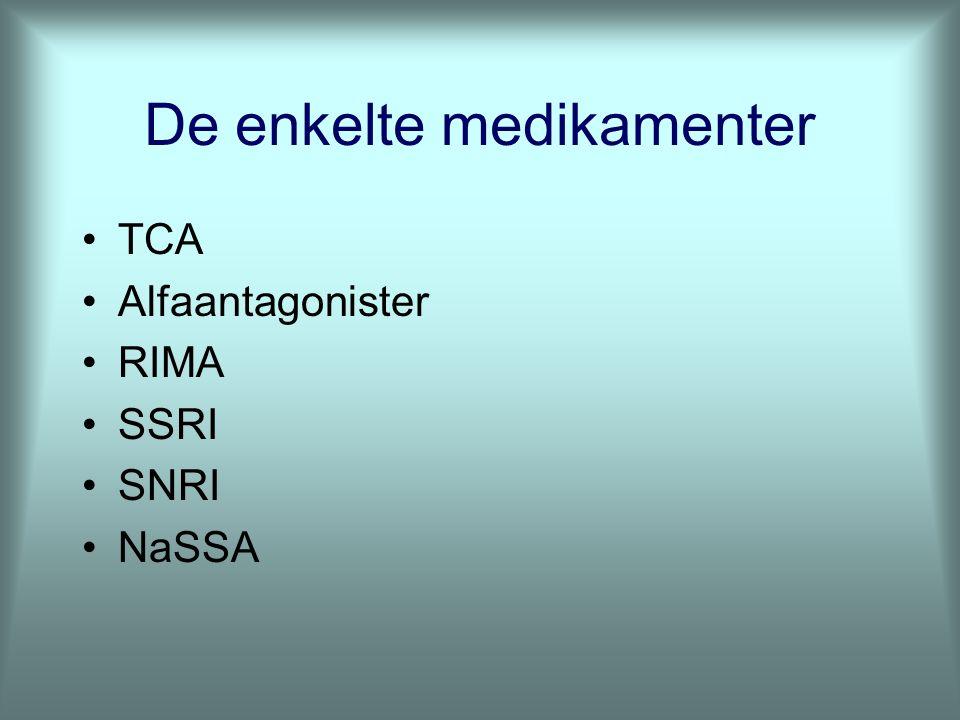 De enkelte medikamenter TCA Alfaantagonister RIMA SSRI SNRI NaSSA