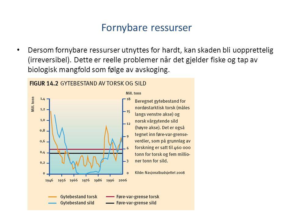 Fornybare ressurser Dersom fornybare ressurser utnyttes for hardt, kan skaden bli uopprettelig (irreversibel).