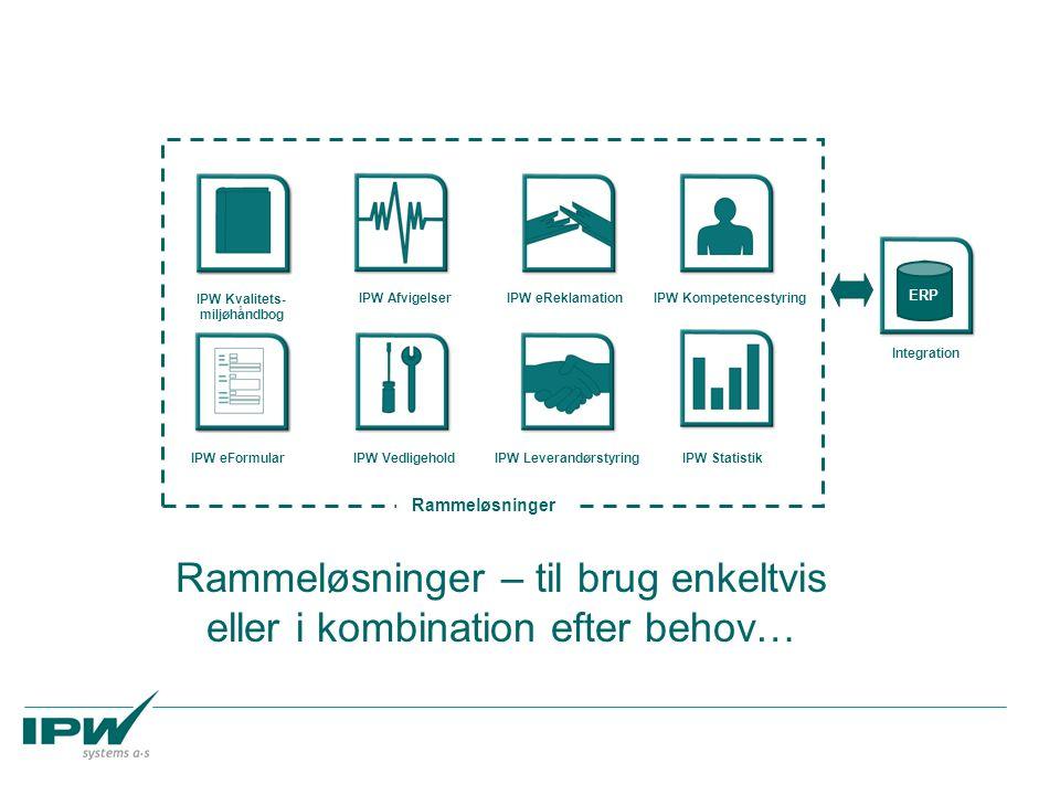 IPW Kvalitets- miljøhåndbog IPW AfvigelserIPW eReklamationIPW Kompetencestyring IPW eFormularIPW VedligeholdIPW LeverandørstyringIPW Statistik Rammeløsninger – til brug enkeltvis eller i kombination efter behov… ERP Integration Rammeløsninger