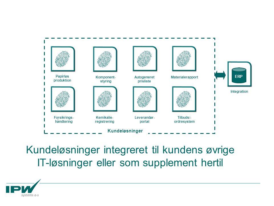 Papirløs produktion Komponent- styring Autogeneret prisliste Materialerapport Forsikrings- håndtering Kemikalie- registrering Leverandør- portal Tilbuds/- ordresystem Kundeløsninger integreret til kundens øvrige IT-løsninger eller som supplement hertil ERP Integration Kundeløsninger