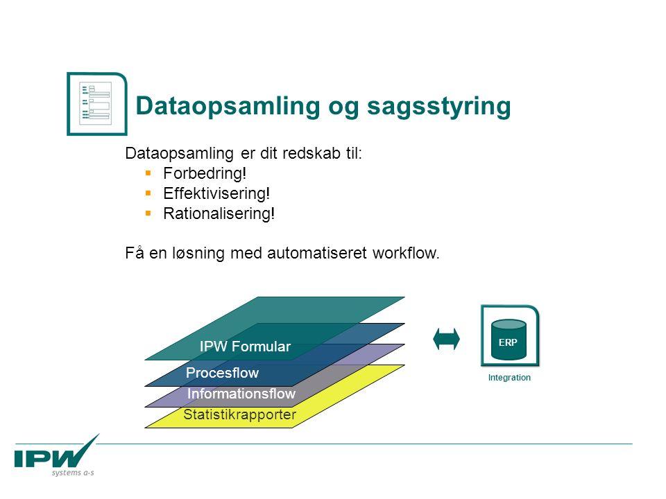 Statistikrapporter Informationsflow Procesflow Dataopsamling og sagsstyring Dataopsamling er dit redskab til:  Forbedring!  Effektivisering!  Ratio