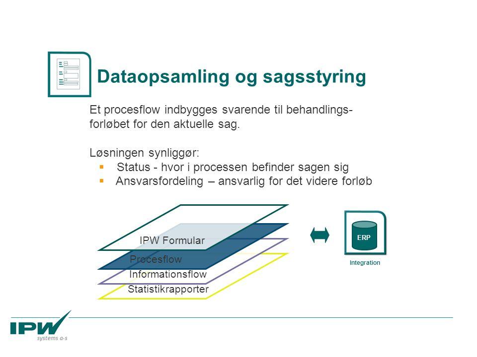 Statistikrapporter Informationsflow Procesflow Et procesflow indbygges svarende til behandlings- forløbet for den aktuelle sag. Løsningen synliggør: 