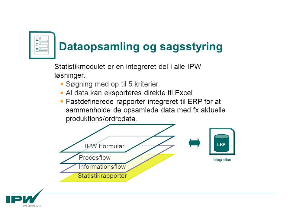 Statistikrapporter Informationsflow Procesflow Statistikmodulet er en integreret del i alle IPW løsninger.  Søgning med op til 5 kriterier  Al data