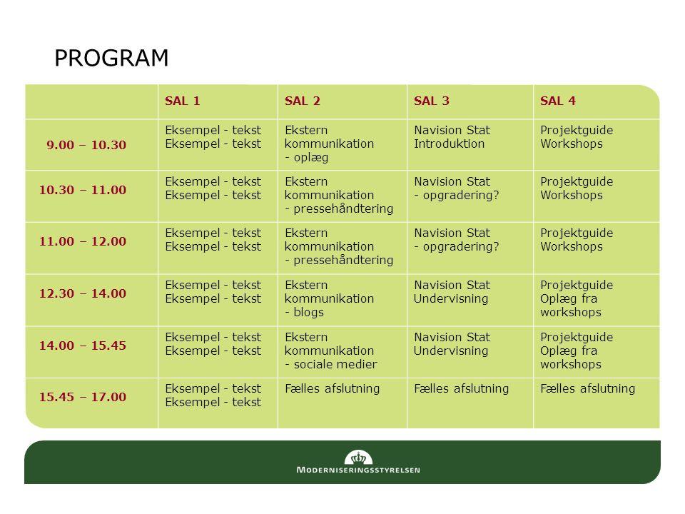 PROGRAM SAL 1SAL 2SAL 3SAL 4 9.00 – 10.30 Eksempel - tekst Ekstern kommunikation - oplæg Navision Stat Introduktion Projektguide Workshops 10.30 – 11.00 Eksempel - tekst Ekstern kommunikation - pressehåndtering Navision Stat - opgradering.