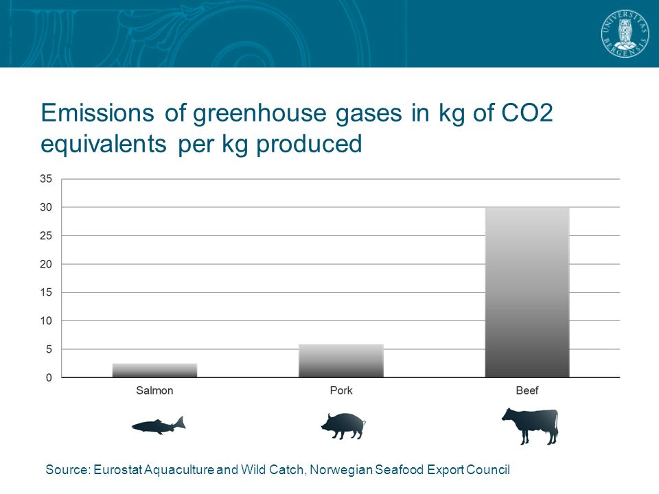 Emissions of greenhouse gases in kg of CO2 equivalents per kg produced Source: Eurostat Aquaculture and Wild Catch, Norwegian Seafood Export Council