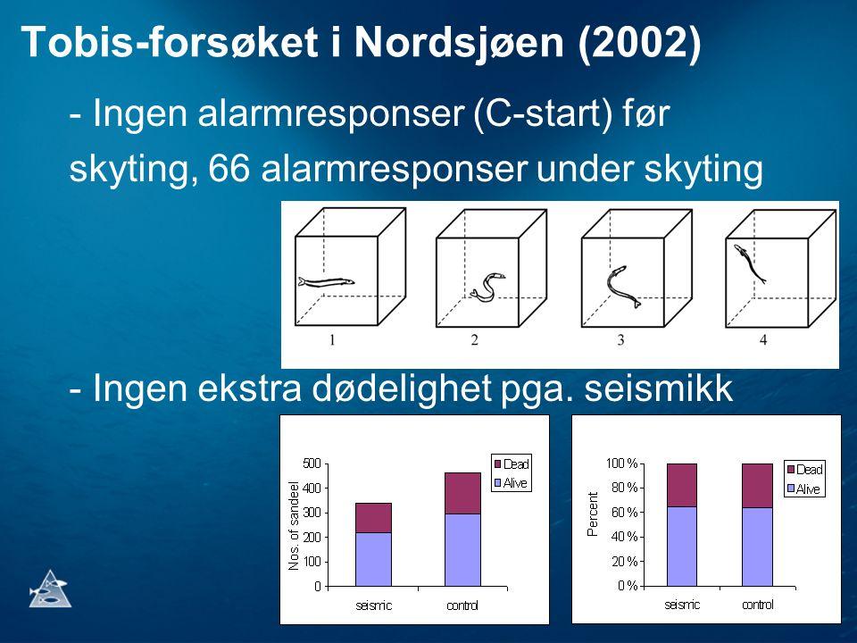 Tobis-forsøket i Nordsjøen (2002) - Ingen alarmresponser (C-start) før skyting, 66 alarmresponser under skyting - Ingen ekstra dødelighet pga. seismik