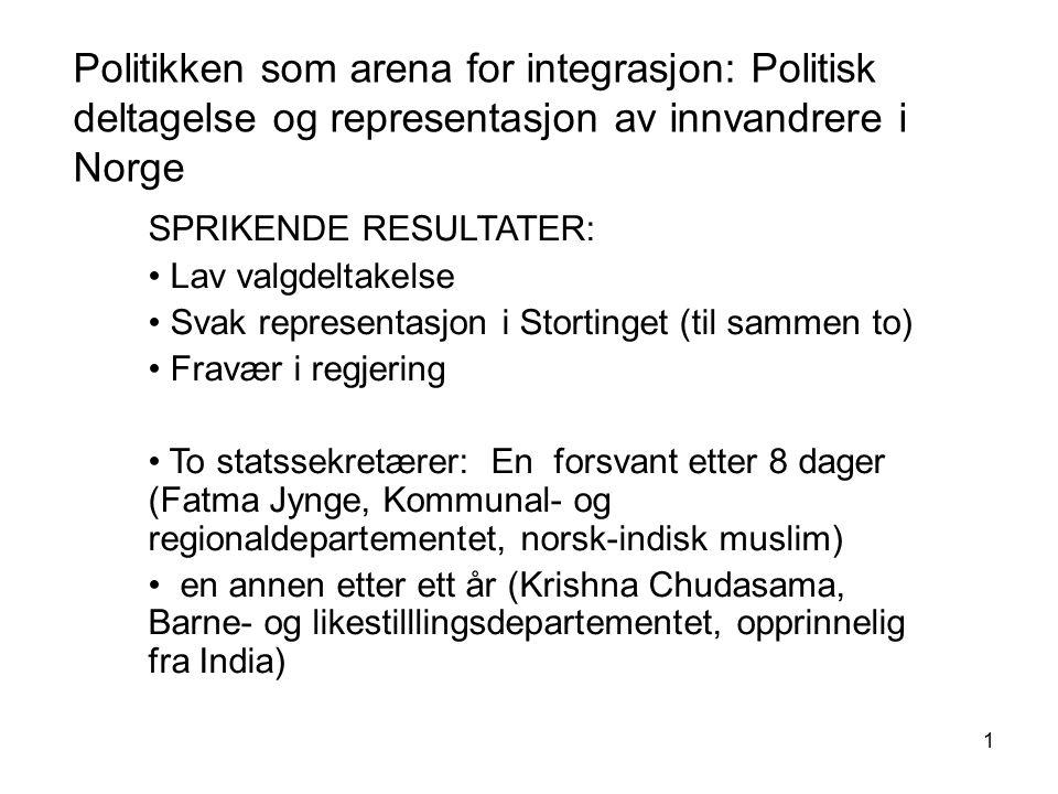 1 Politikken som arena for integrasjon: Politisk deltagelse og representasjon av innvandrere i Norge SPRIKENDE RESULTATER: Lav valgdeltakelse Svak rep