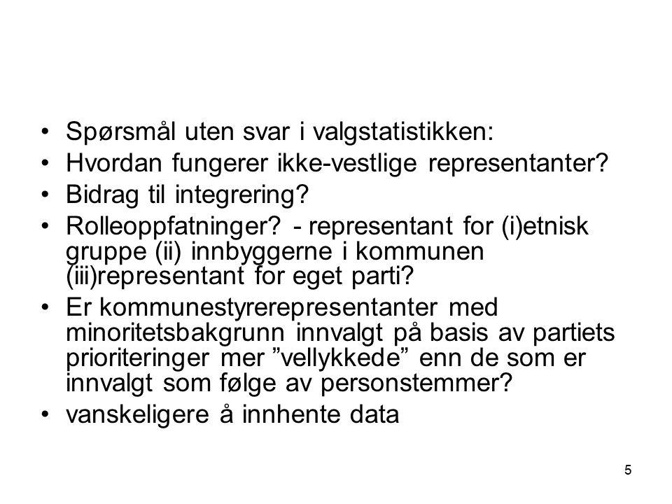 5 Spørsmål uten svar i valgstatistikken: Hvordan fungerer ikke-vestlige representanter? Bidrag til integrering? Rolleoppfatninger? - representant for