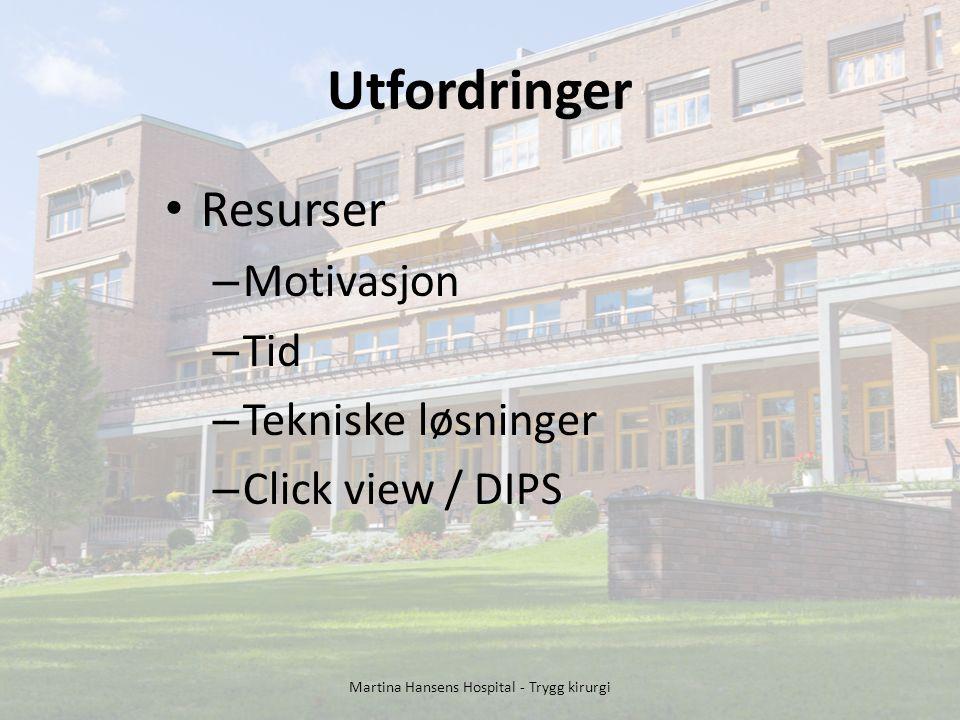 Utfordringer Resurser – Motivasjon – Tid – Tekniske løsninger – Click view / DIPS Martina Hansens Hospital - Trygg kirurgi
