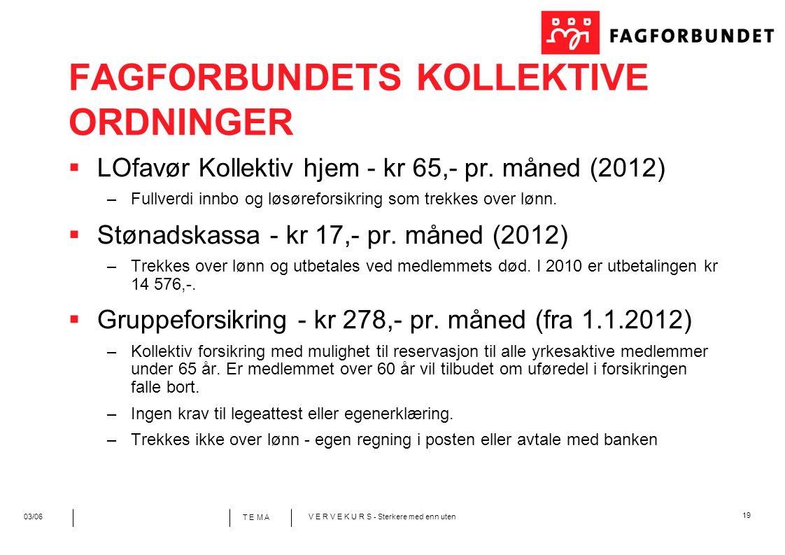 19 T E M A 03/06V E R V E K U R S - Sterkere med enn uten FAGFORBUNDETS KOLLEKTIVE ORDNINGER  LOfavør Kollektiv hjem - kr 65,- pr. måned (2012) –Full