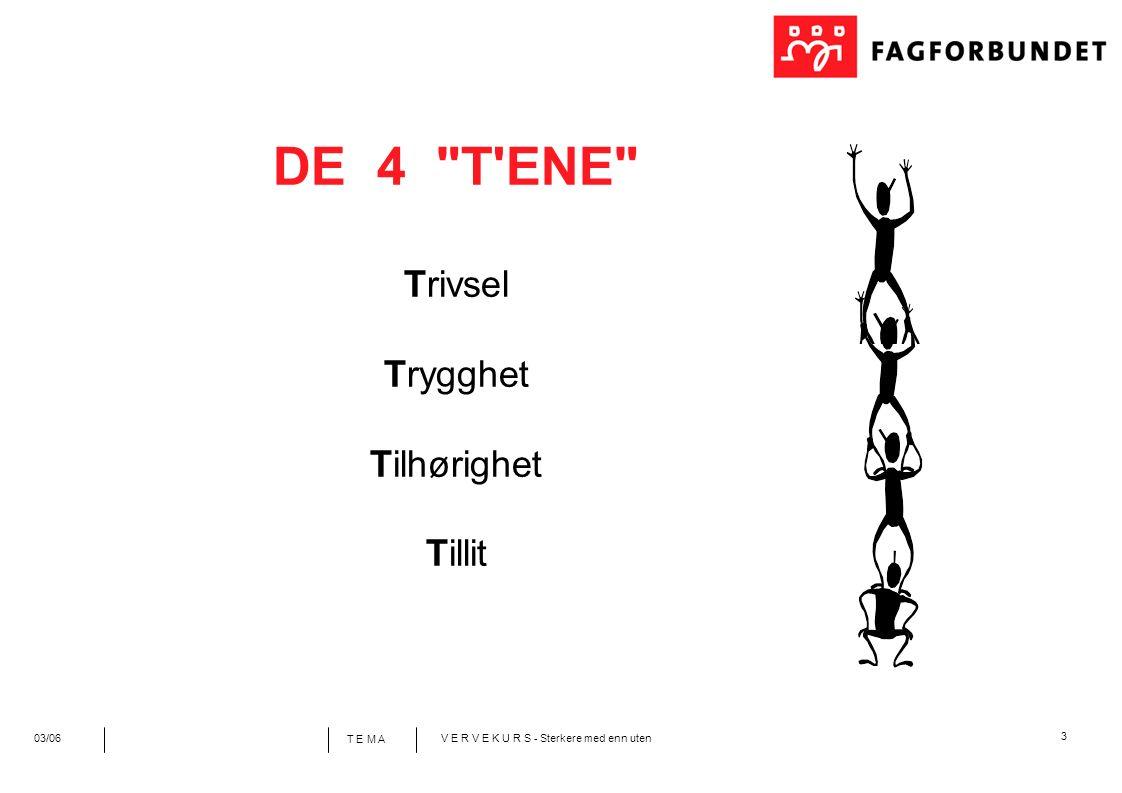 3 T E M A 03/06V E R V E K U R S - Sterkere med enn uten DE 4 T ENE Trivsel Trygghet Tilhørighet Tillit