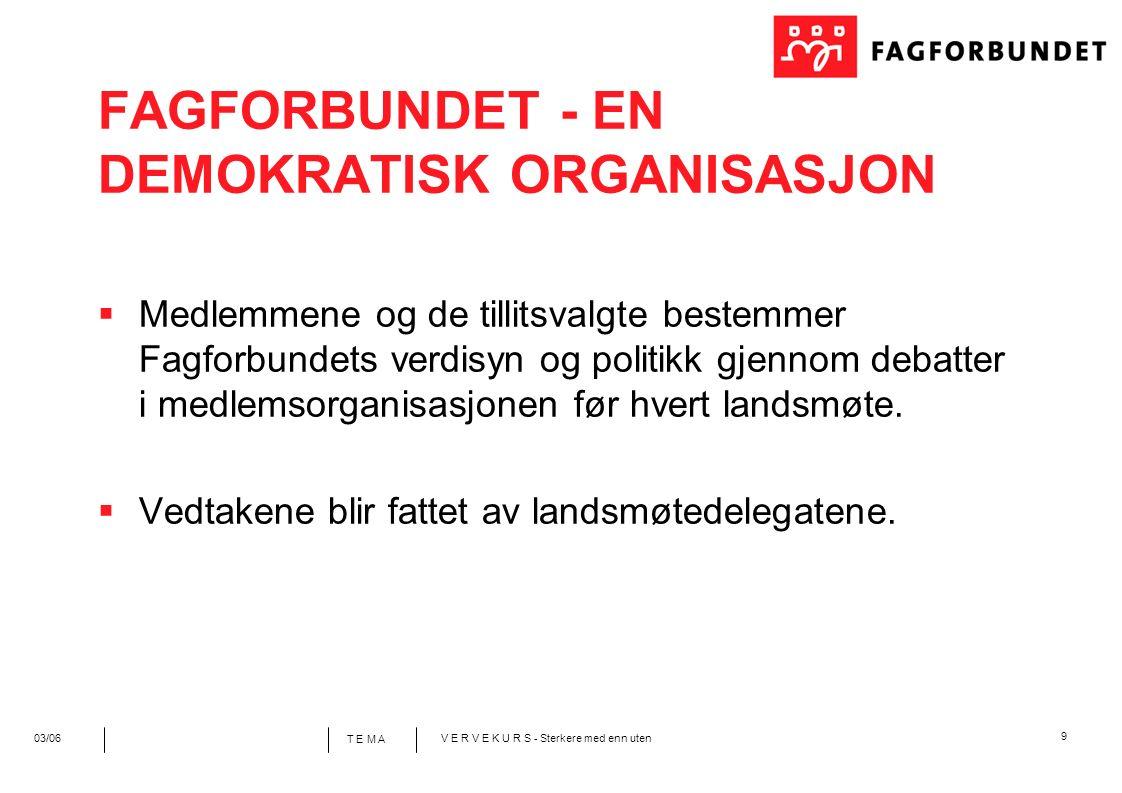 9 T E M A 03/06V E R V E K U R S - Sterkere med enn uten FAGFORBUNDET - EN DEMOKRATISK ORGANISASJON  Medlemmene og de tillitsvalgte bestemmer Fagforbundets verdisyn og politikk gjennom debatter i medlemsorganisasjonen før hvert landsmøte.