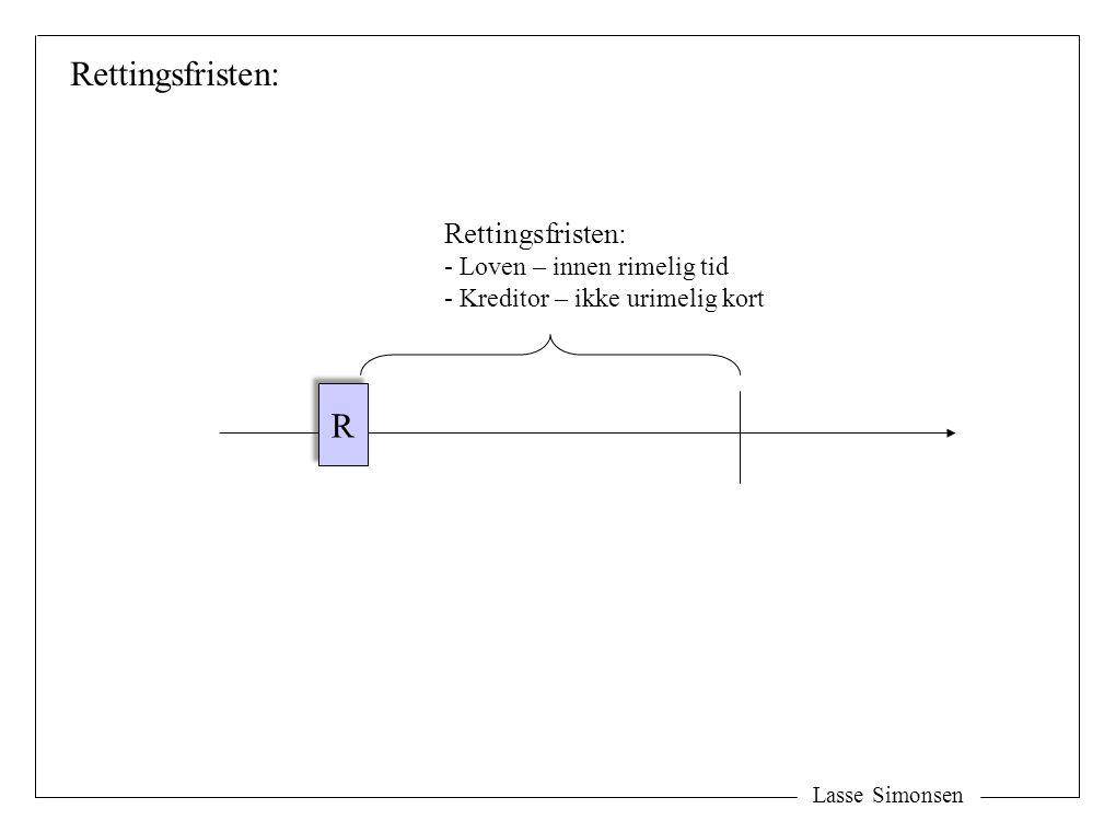 Lasse Simonsen Rettingsfristen: R R - Loven – innen rimelig tid - Kreditor – ikke urimelig kort